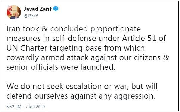 جواد ظریف کی ٹوئیٹ